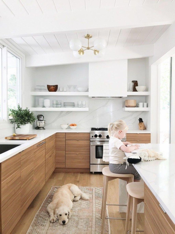 34 Stunning Modern Wooden Kitchen Design Ideas Homepiez White Wood Kitchens Interior Design Kitchen Kitchen Style