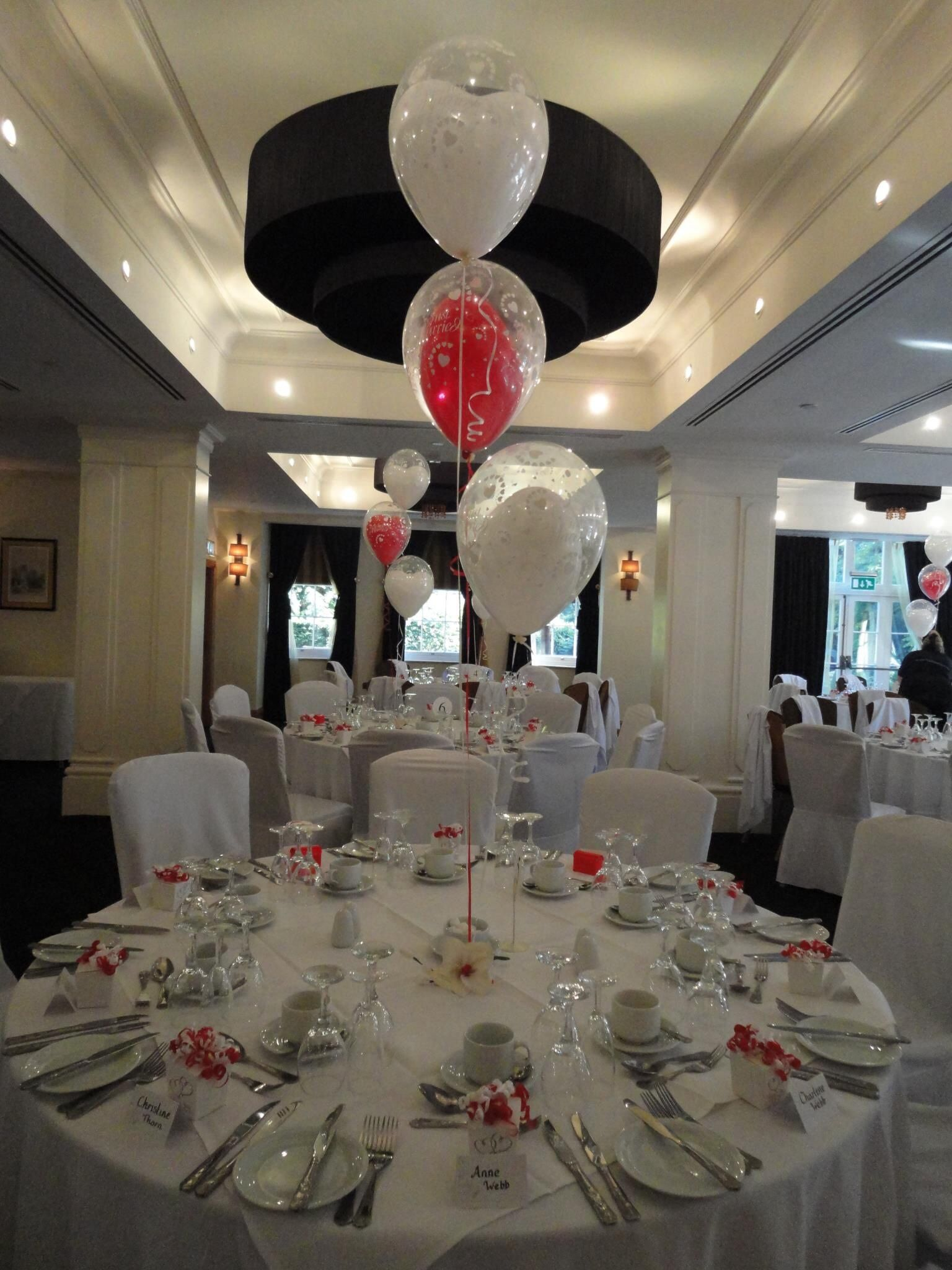 Double Bubble Just Married Balloons in red and white