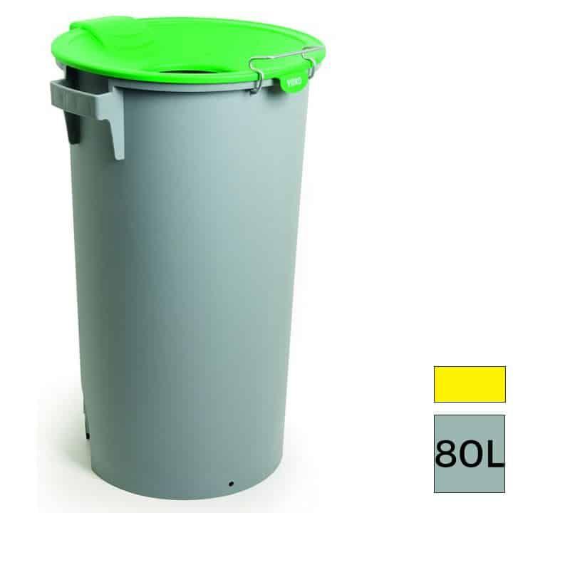 0c4d892fff0388 ... tri sélectif pour Bureau by PoubelleDirect.fr. MONTSERRAT Maxi Poubelle  de recyclage plastique gris 80L , avec protection