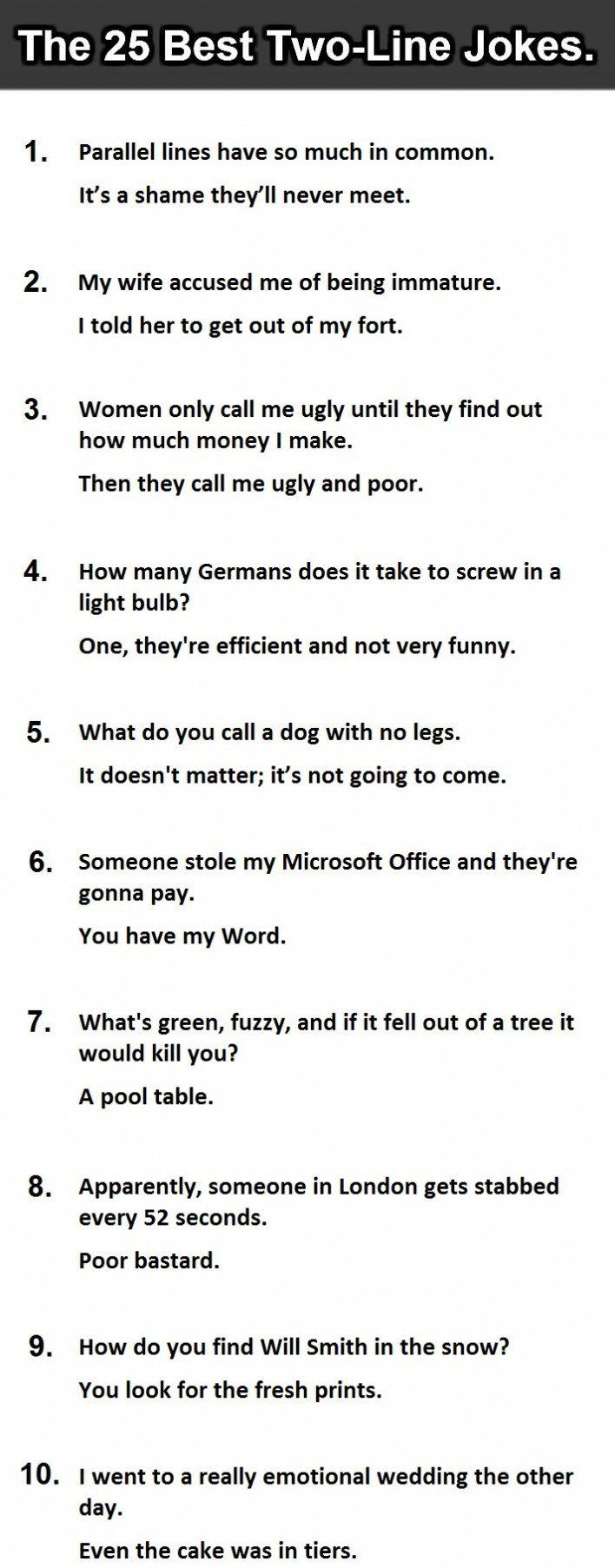 The 25 Best Two Line Jokes Ever 15 Is Priceless Corny Jokes Funny One Liners Puns Jokes