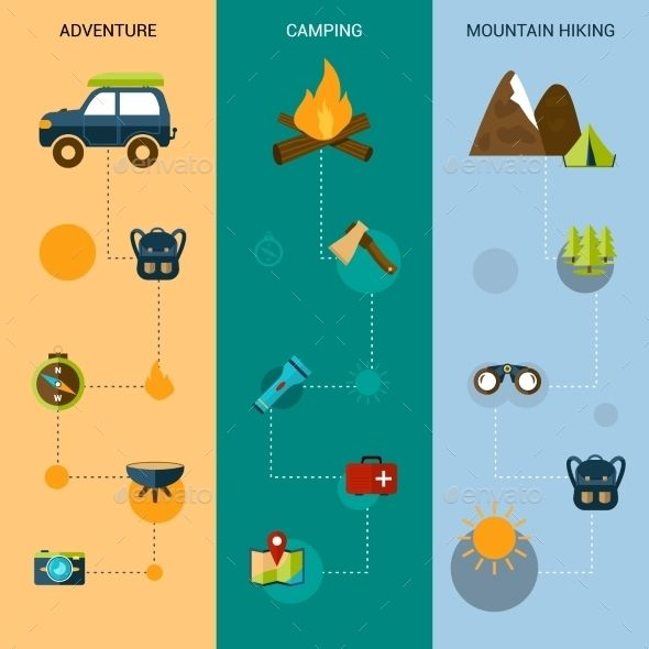 Vertical Camping Banners  (Vector EPS, CS, adventure, axe, backpack, binoculars, camp, car, climbing, compass, decorative, drink, expedition, exploration, explore, flashlight, food, hiking, knife, label, lantern, map, mountain, outdoor, pan, park, recreation, rock, scout, shovel, tent, wilderness)