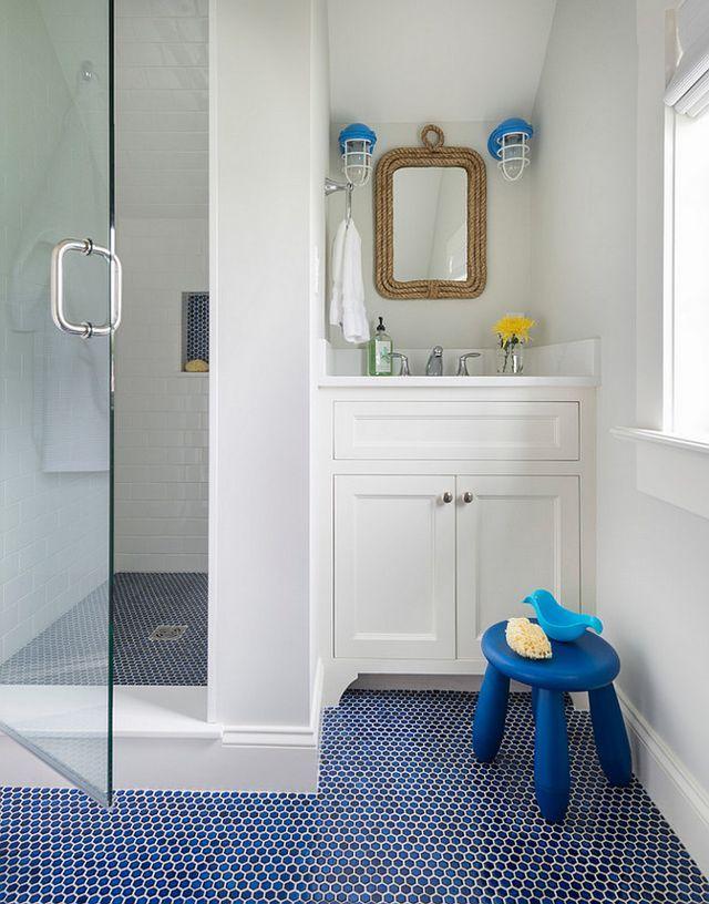 Rhode Island Beach Cottage With Coastal Interiors Home Bunch An Interior Design Luxury Homes Blog With Images Penny Tiles Bathroom Bathroom Floor Tiles Blue Bathroom Tile