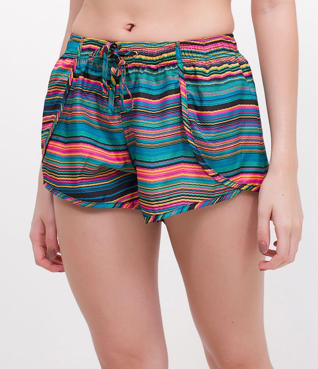 2a7235fe67 Short feminino Saída de praia Com elástico na cintura Estampado Sem forro  Marca  Bossa Nossa