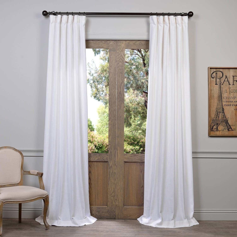 Heavy Faux Linen Single Curtain Panel 50 X 120 Slate Grey