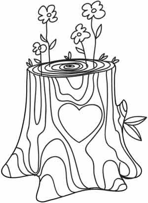 Delicate flowers spring out of an ancient tree trunk with for Tree trunk coloring page