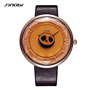 SINOBI Skull Women Man Wrist Watches Halloween Ghost Dial Leather Band, Street Style Casual Pirate Witch