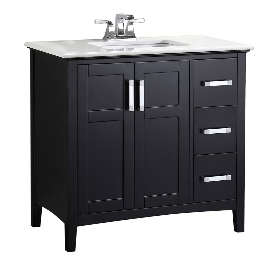 Winston 36 Inch W Vanity In Black With Quartz Marble Top In White Black Vanity Bathroom Marble Vanity Tops Single Bathroom Vanity