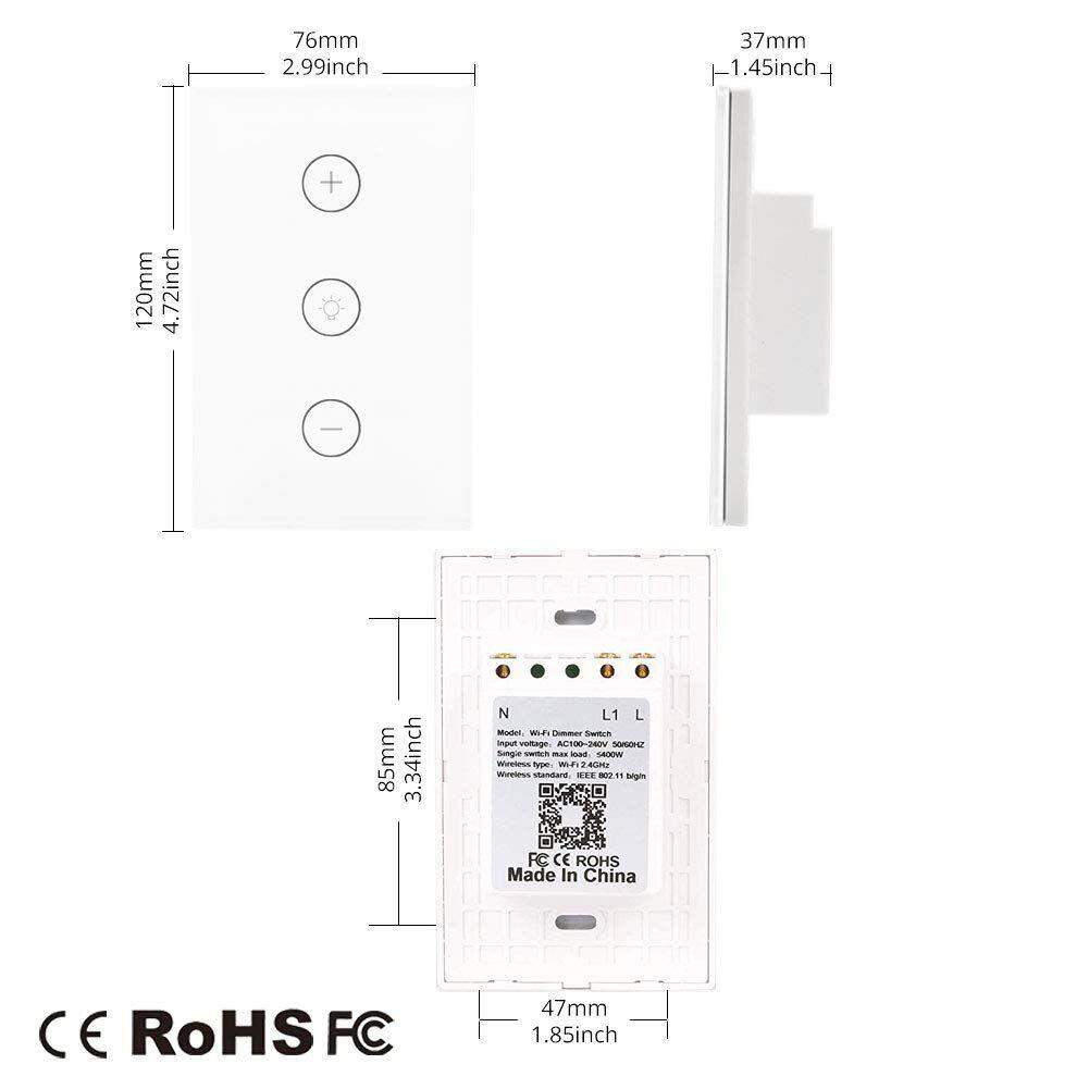 Smart WiFi Dimmer Light Switch Glass Touch Panel Wireless