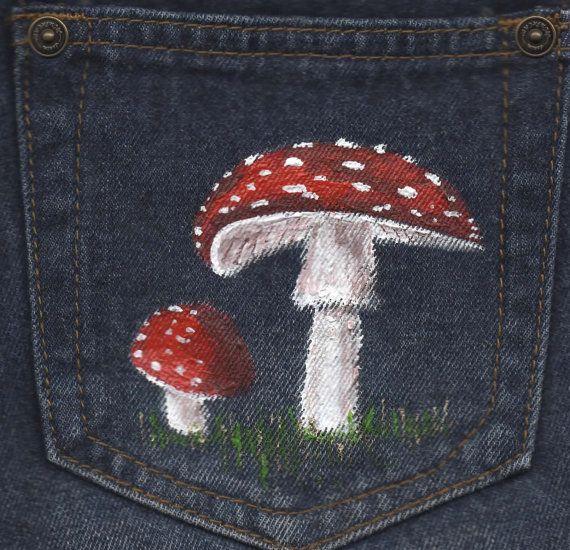 Items similar to Denim Shorts, Festival Clothing, UK 10, Hand Painted, Red, Toadstool, Mushroom, Upcycled, Denim Hot Pants, Hand Painted Clothes on Etsy