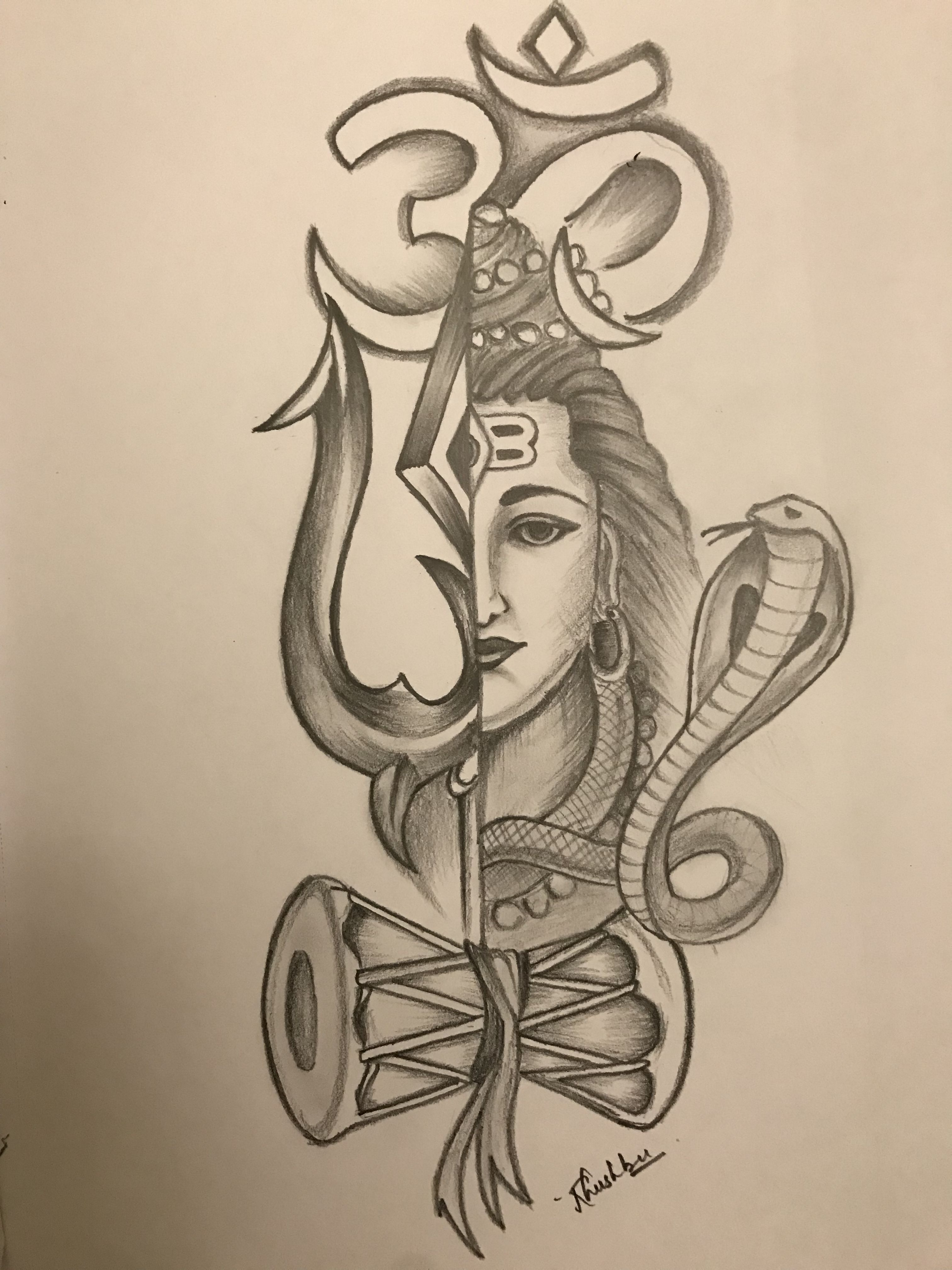 Sketch Of Lord Shiva Using Graphite Pencil Pencilsketch Art