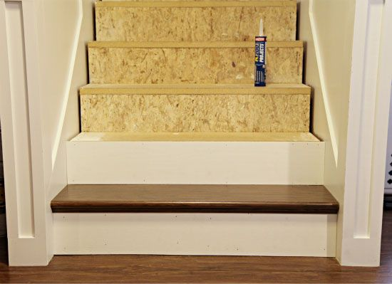 stair re do using false treads from home depot. Black Bedroom Furniture Sets. Home Design Ideas