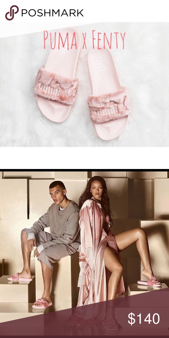 c939400b60d0 Puma Fenty Rihanna pink fur slide slipper sandals Brand new!! Comes with  beautiful valves