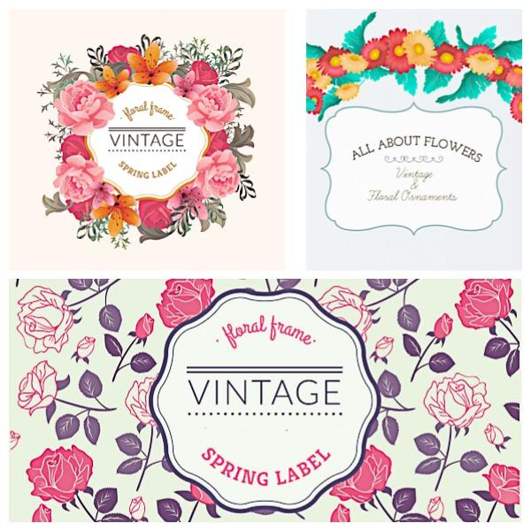 Spring label vintage frame flower peony set vector free vectors set of 3 vectors with spring labels vintage frames and ornaments with beautiful flowers peonies roses and gerberas for your invitations stopboris Image collections