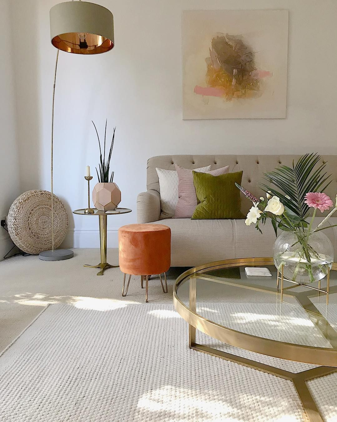 Get cosy with footstools and burnt orange velvet this