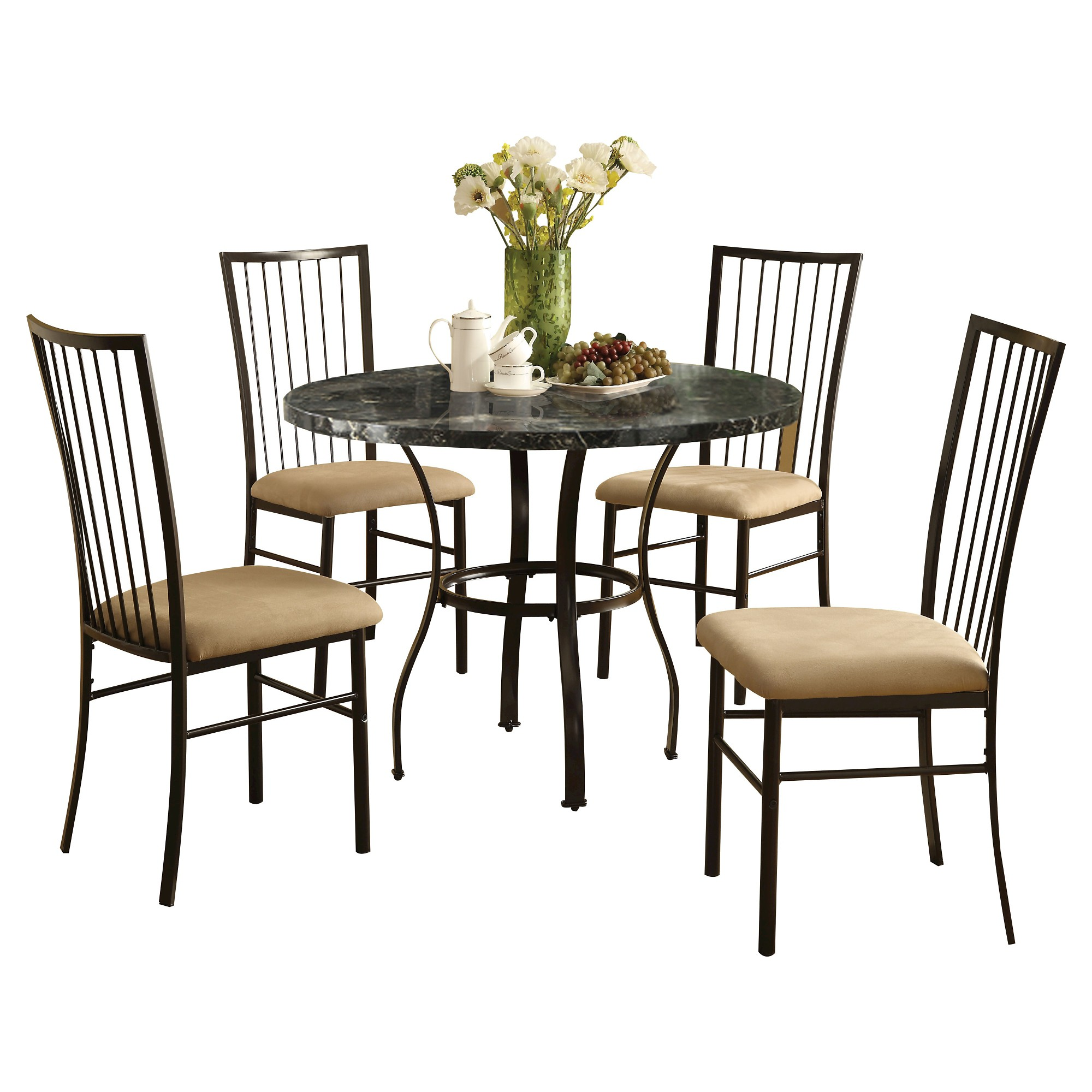 darell 5pc pack dining set black faux marble and black acme rh pinterest co uk