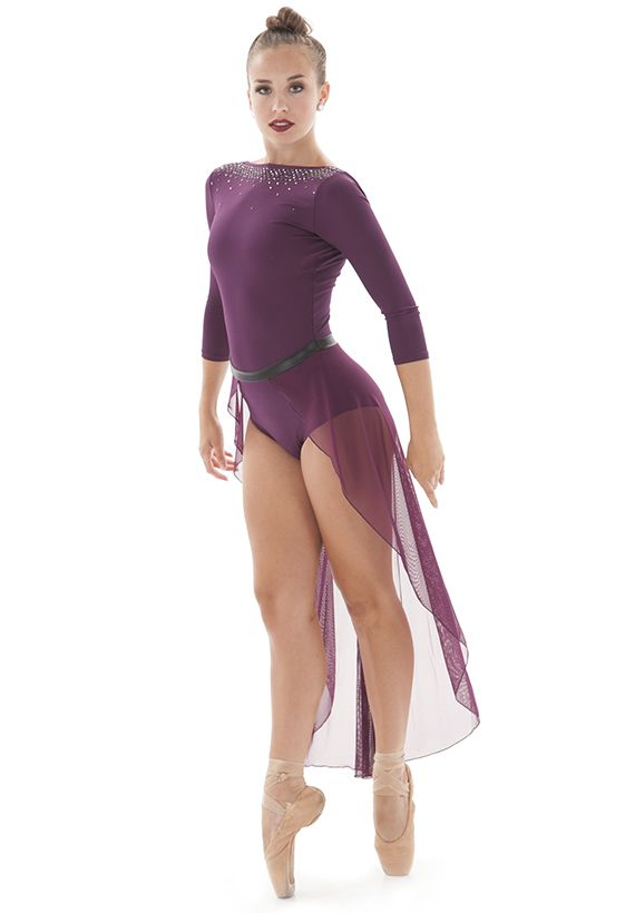 High neckline across shoulders 3/4 sleeve leotard with attached half ...