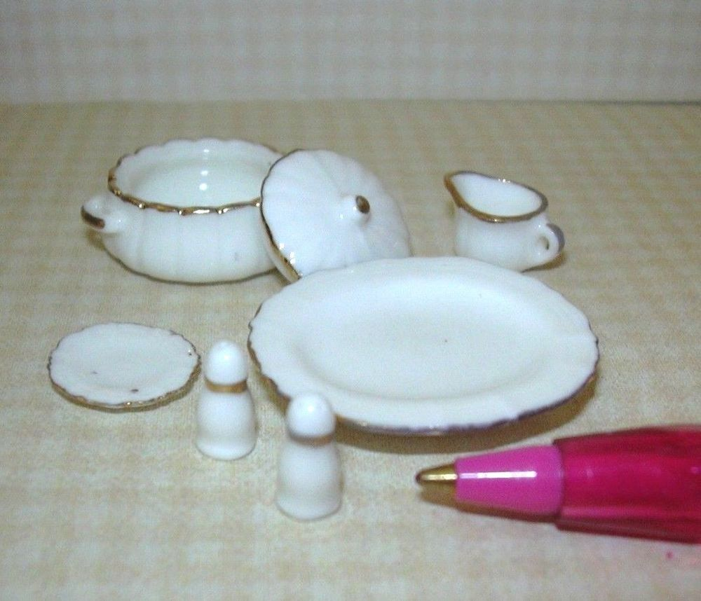 DOLLHOUSE 1:12 Miniature White Porcelain Serving Pieces Set w//Gold Trim
