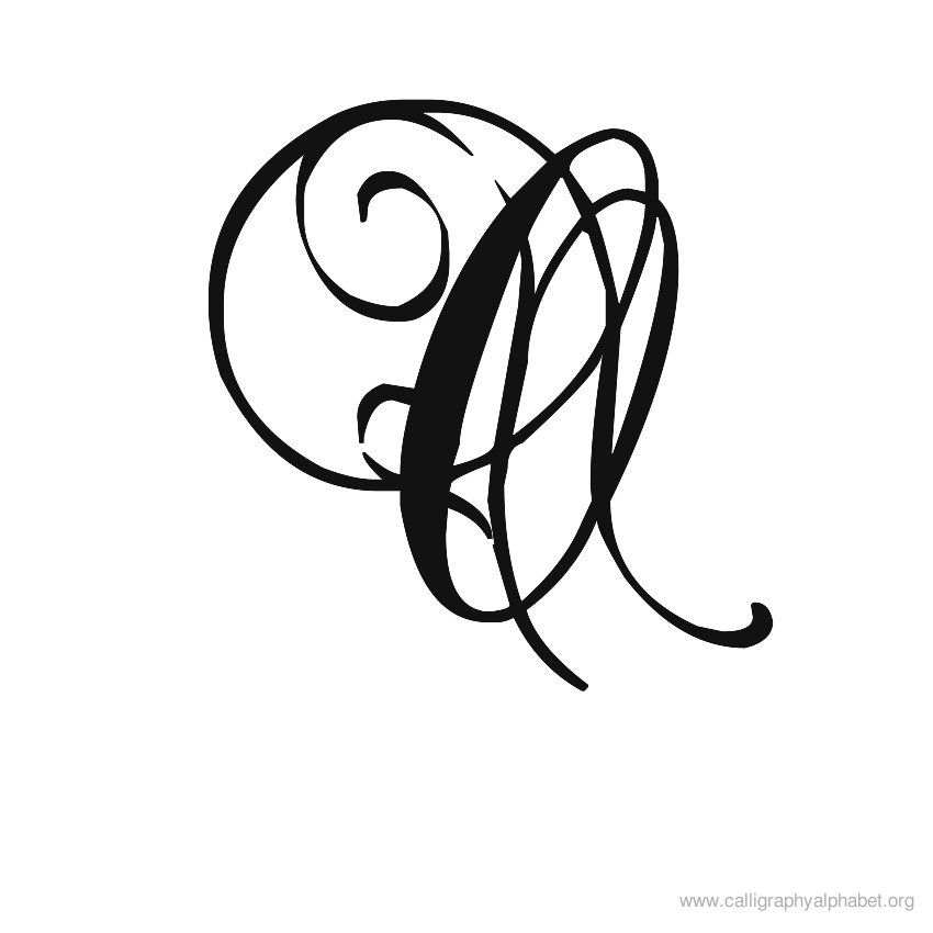 Calligraphy alphabet romantic o doodle lettering