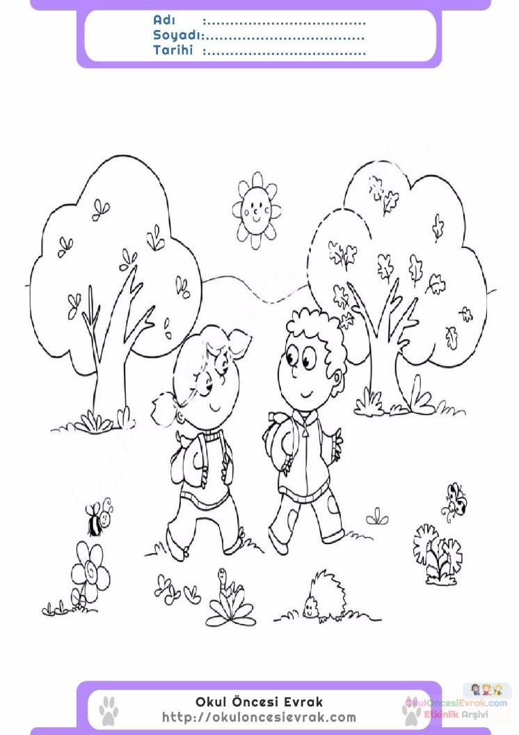 çocuklar Için Mevsimler Ilkbahar Mevsimi Boyama Sayfası 6 Okul