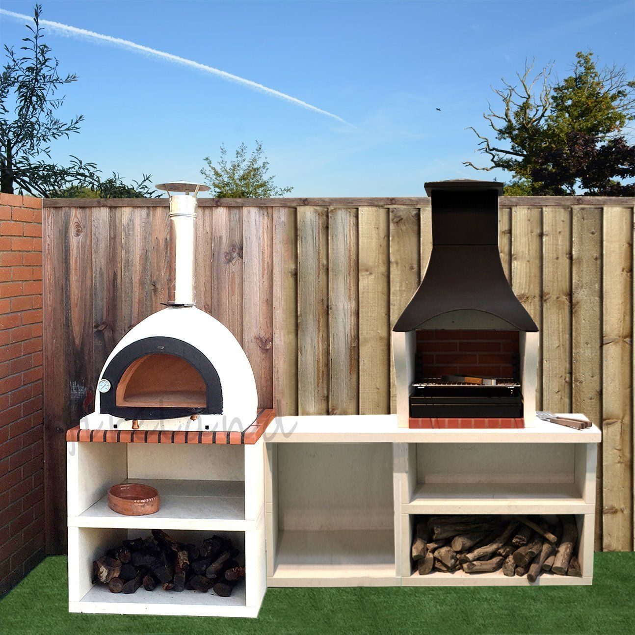 Napoli Outdoor Wood Fired Pizza Oven Barbecue Grill Garden Combo Kitchen Amazon Co Uk Garden Outdoors Barbekyu Terrasa Koptilnya