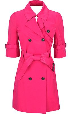 Pink trench coat with pleated back.