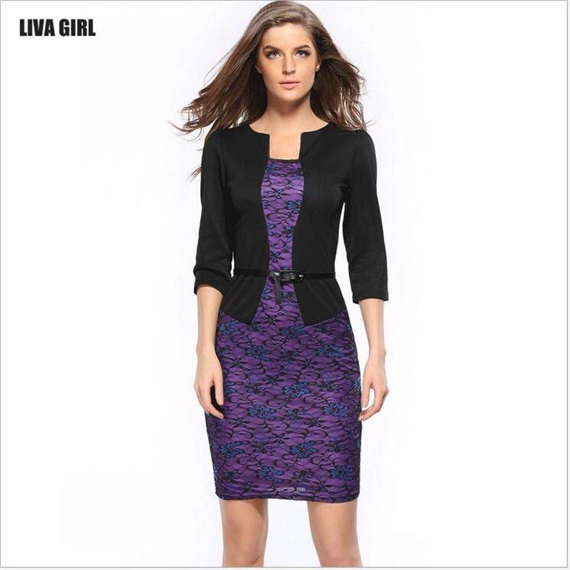 Fashion 2017 Spring Style Women Formal Bodycon Dress Elegant Print ...