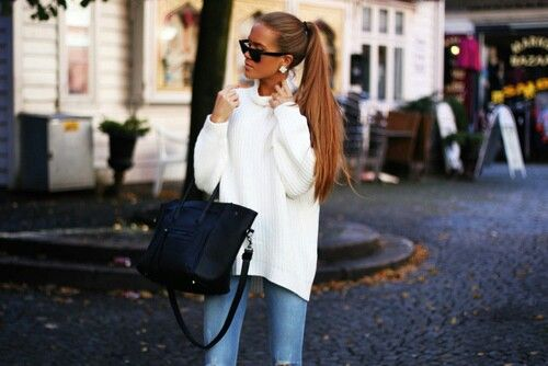 high ponytail + over-sized sweater + sunglasses