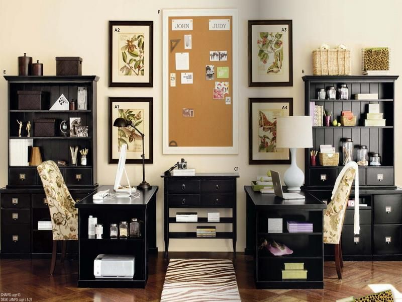 Decorating Office Ideas At Work With Black Furniture Home Office
