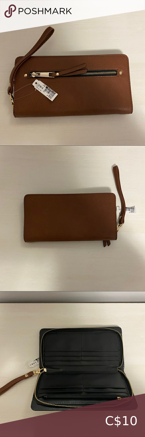 Brown Wristlet/Wallet with Gold Plated Details