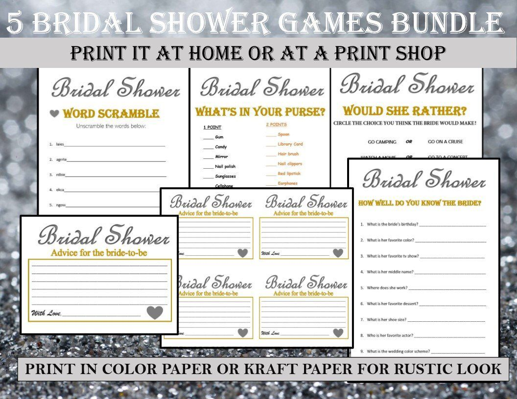 Printable Bridal Shower Game Bundle Wedding Bridesmaid