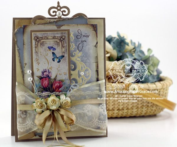 Vintage Card using Spellbinders Twisted Metal Tags and Flourish Trim with ByDigitalPaper - www.amazingpapergrace.com