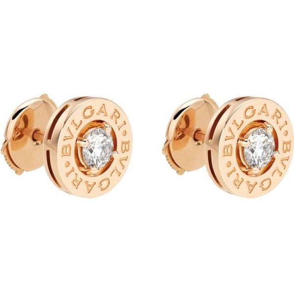 Bvlgari 18ct Pink Gold Stud Earrings With Diamonds 4 800 Liked On Polyvore Featuring Jewelry Rose