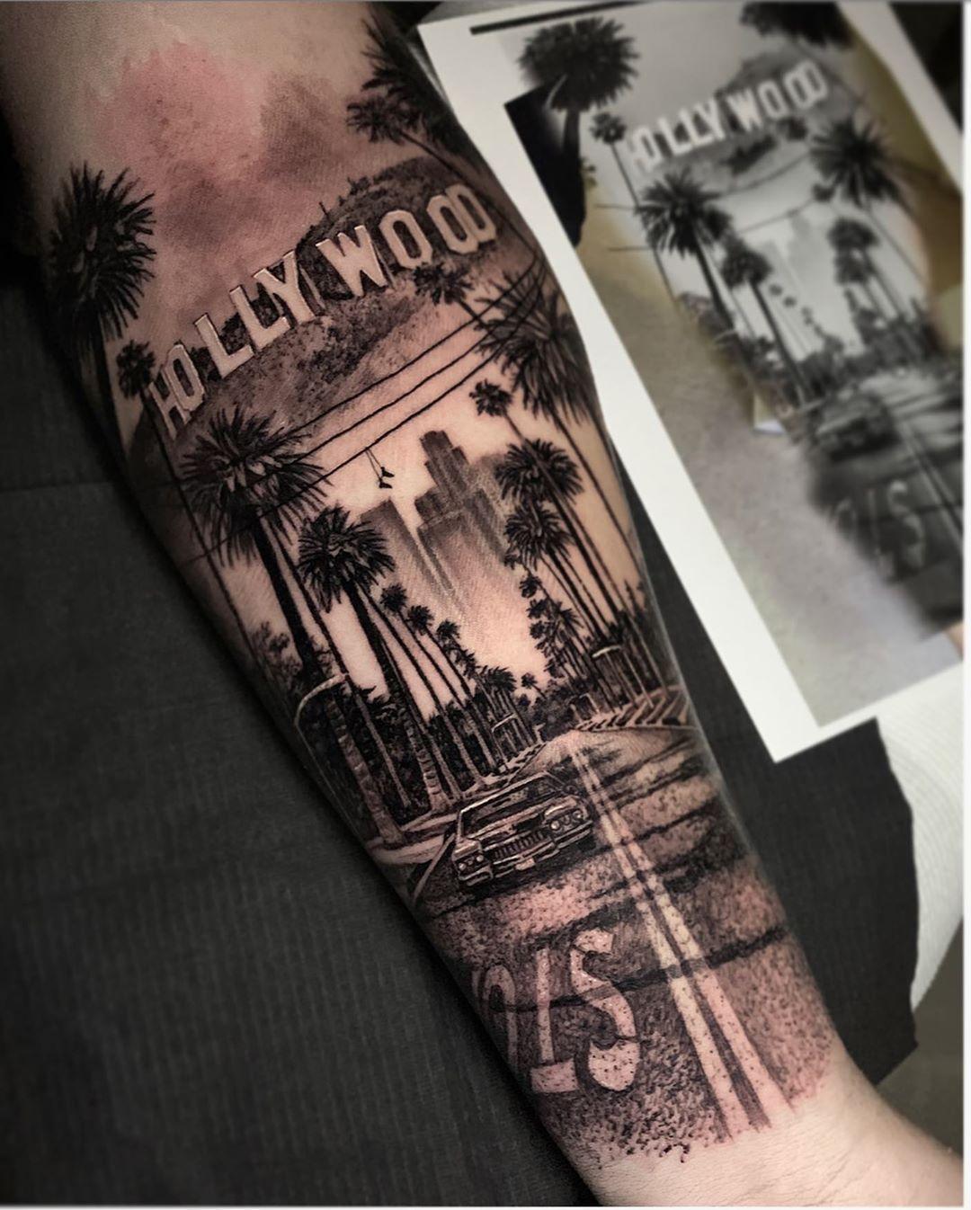 "California Forearm Tattoo : california, forearm, tattoo, Dylan, Weber, Instagram:, ""Los, Angeles, Piece, Privilege, David,, Thanks, Legend, Hollywood, Tattoo,, Forearm, Tattoos,, Sleeve, Tattoos"