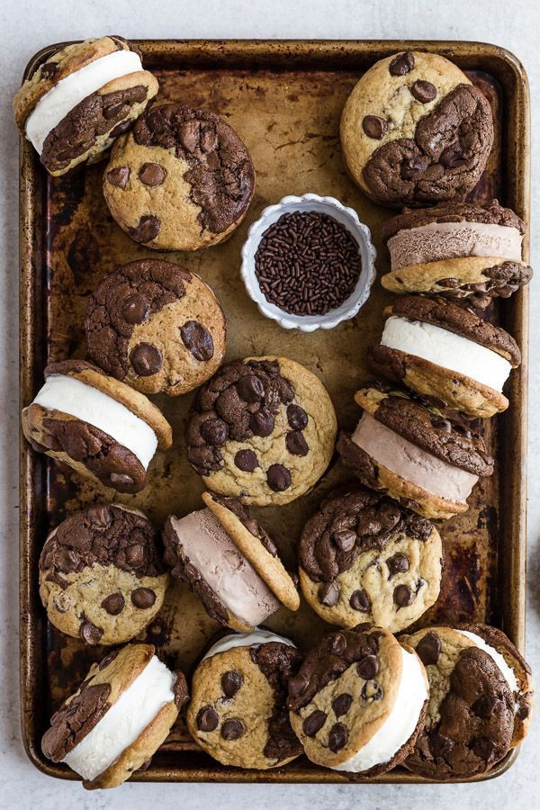 Brookie Ice Cream Sandwiches - Browned Butter Blondie