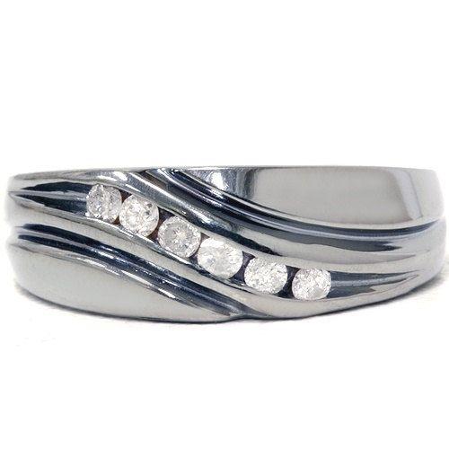 14CT Diamond Mens 14K Black Gold Wedding Ring Band Size 712
