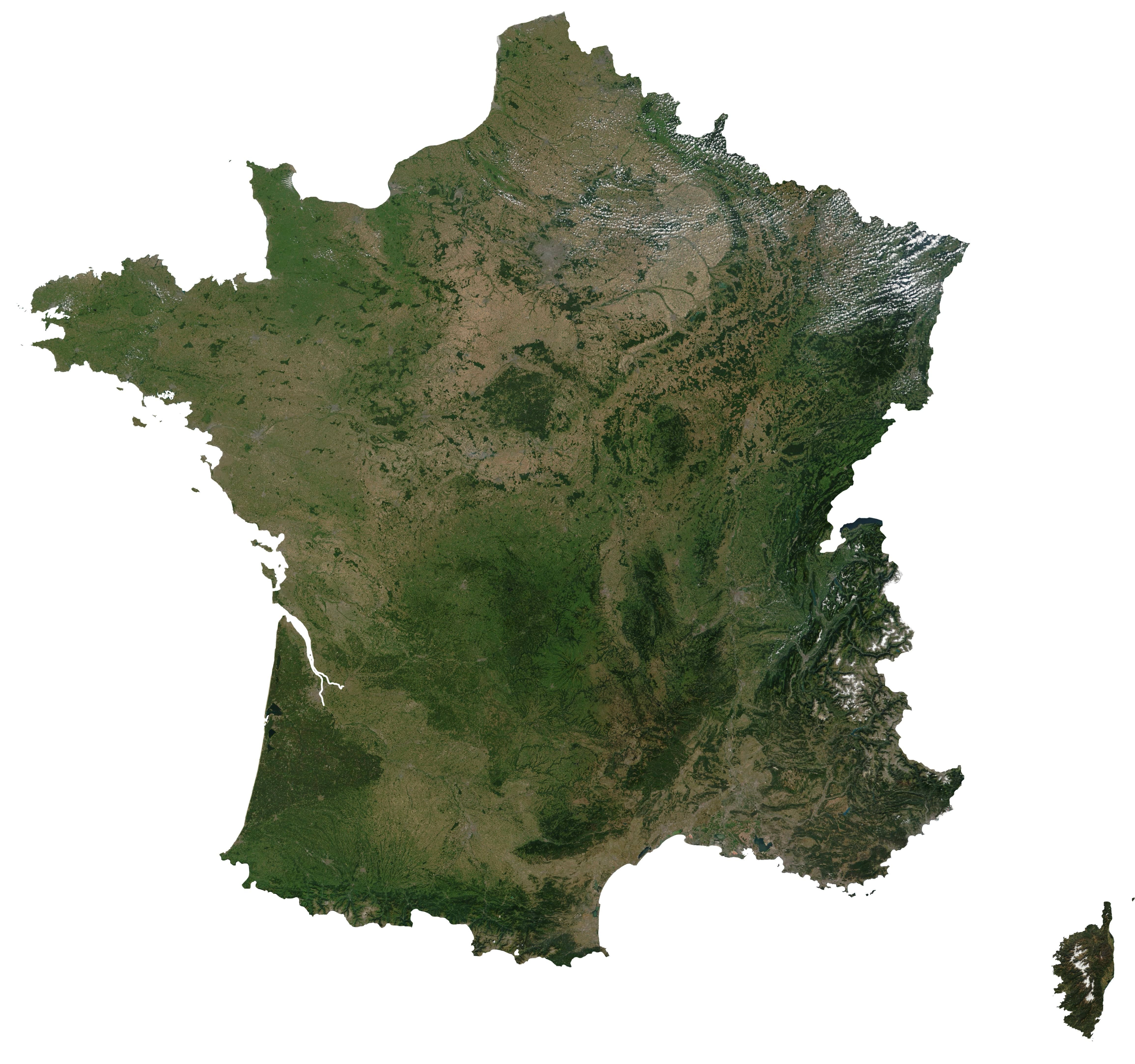Satellite map of France Satellite map of