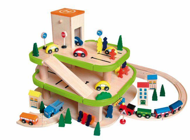 Houten Garage Janod : Woody houten speelgoed garage met lift en railsdoorgang Гараж