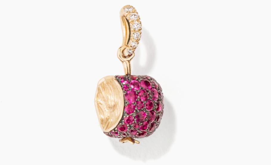 Aurelie Bidermann的紅寶石、鑽石和黃金蘋果手鐲