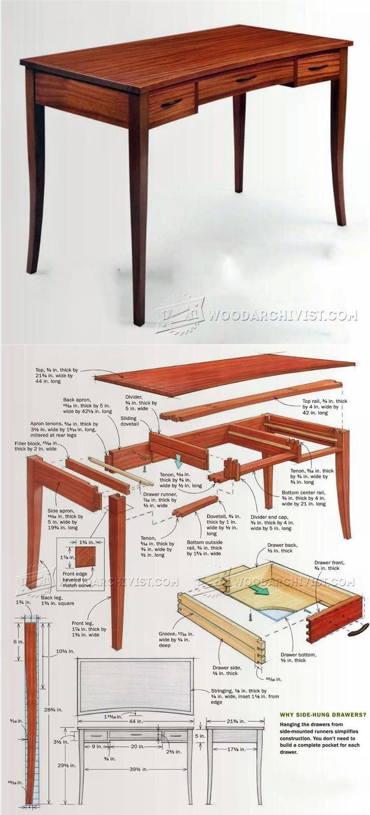 build writing desk furniture plans and projects woodarchivist rh pinterest com