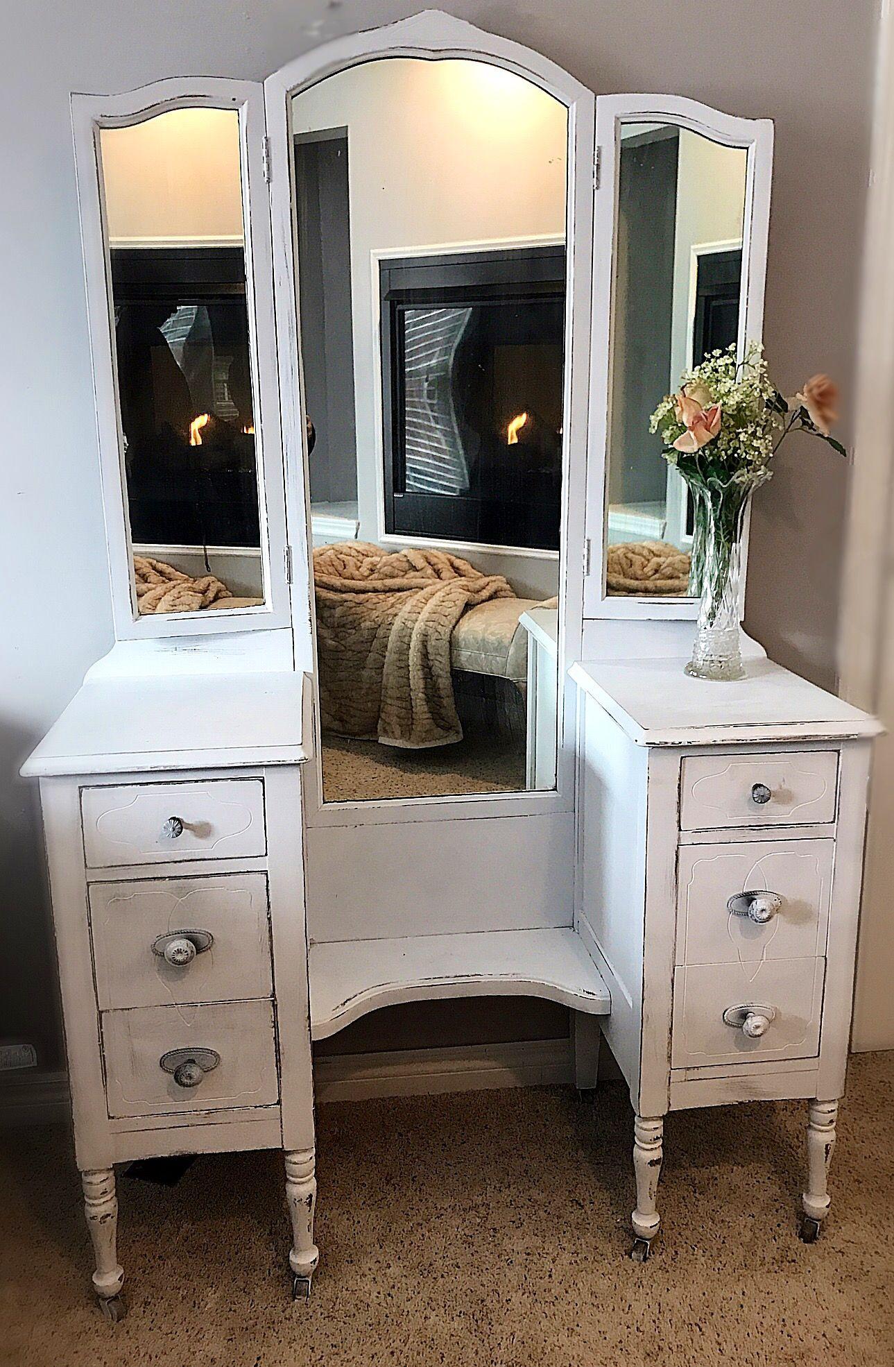 Beautiful white antique vintage vanity rustic vanity