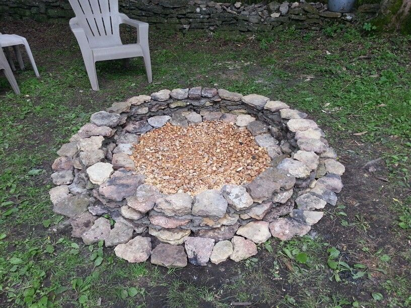 Built this fire pit in just a few hours it has an inner for Backyard rock fire pit ideas