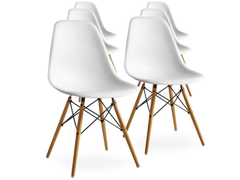 Lot De 6 Chaises Scandinaves Blanches Style Eiffel Chaise Scandinave Chaise Chaise Salle A Manger