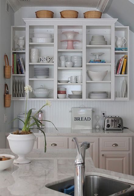 love this open organized shelf unit i want that bread box home rh pinterest co uk