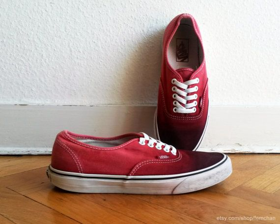 4a0723c2fa  ombre  vansshoes Blood red ombre Vans Authentic sneakers upcycled by  Femchan