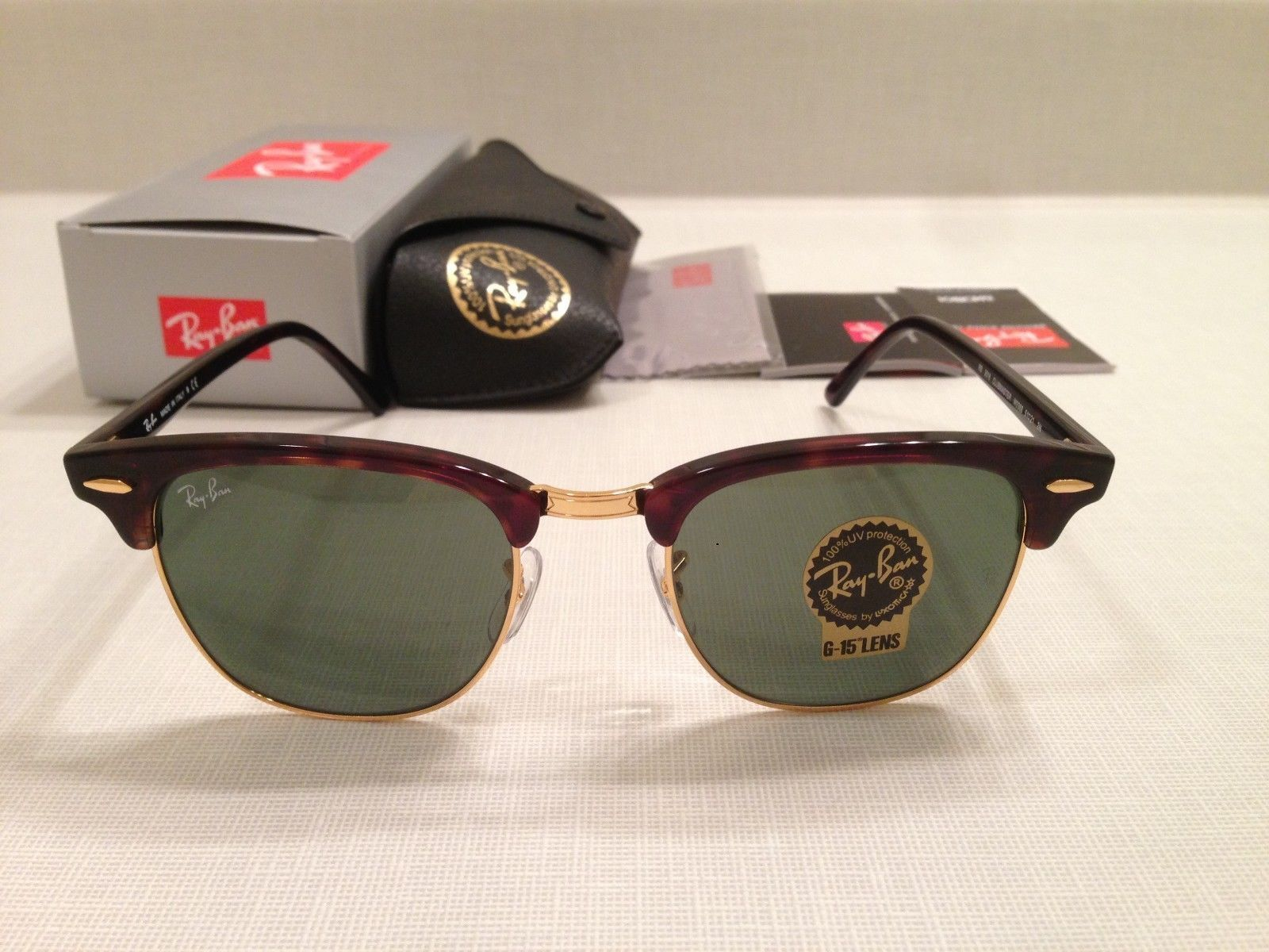 ray ban clubmaster rb3016 tortoise havana gold frame sunglasses w0366 51mm