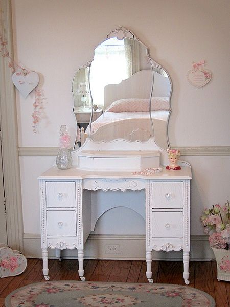 beautiful white antique vanity with tiara mirror decorating our rh pinterest com