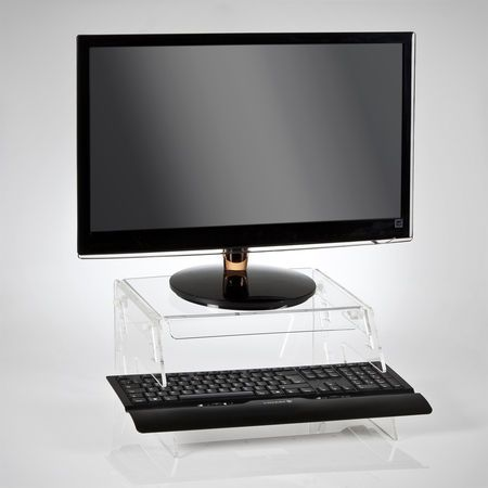a height adjusting acrylic monitor riser stand in clear acrylic the rh br pinterest com