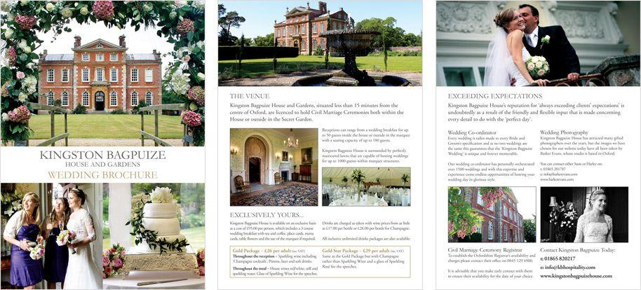 Wedding Brochure Design Kingston Bagpuize House | Bridal Brochure ...