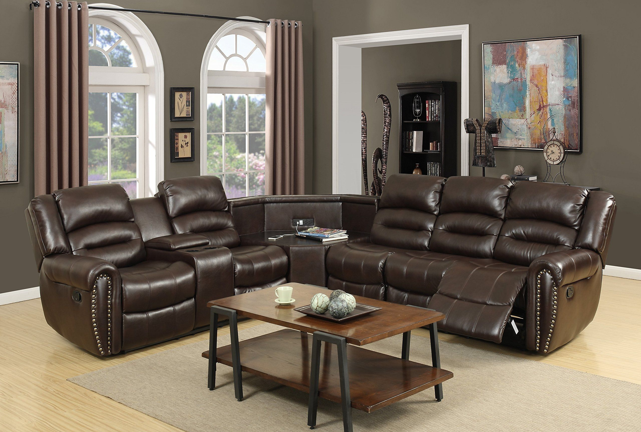 NHI Express Amelia Leather Air Sectional Brown
