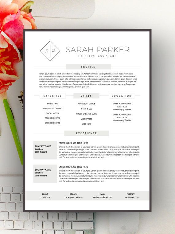 Creative Resume Template, Modern Resume Design for Word 1+2 page - create resume format